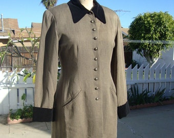 Vintage 1980's Tailored Brown Wool, Black Velvet Equestrian Riding Jacket - By Compagnie International Express - 7/8 Medium