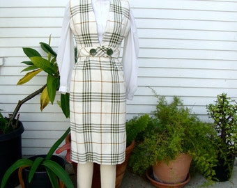 Vintage Mad Men Office Fashion 1960s White And Green Plaid Skirt Suit - Tami Sophisticates - Size XSmall