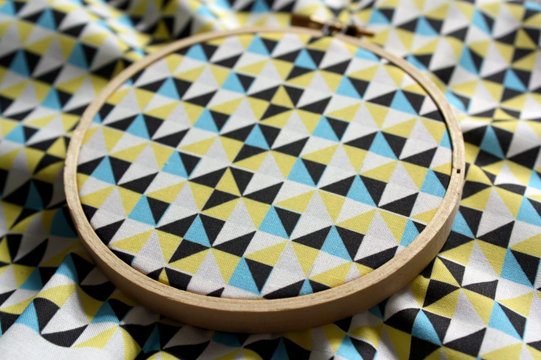 Modern Quilt Geometric Triangle Fabric Yellow Blue Grey