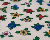 1.55 yards VTG fabric: primary flowers & strawberries