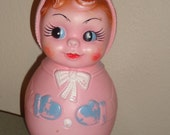 vintage big eye plastic roly poly baby girl doll toy