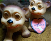 Vintage animal troll The Lovable Uglies  toy doll made in Japan set of 2
