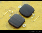 Wood Collection - Ebony square wood earrings