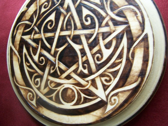 IN STOCK - Savage Tribal Wooden Pentacle - OOAK Hand Drawn Pyrography