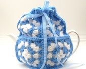 Crochet tea cosy - Cornish Blue and White Granny Square