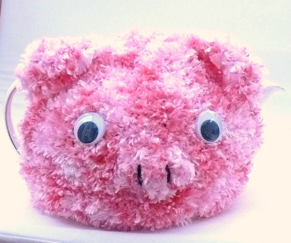 Handmade fluffy pink pig tea cosy knitted