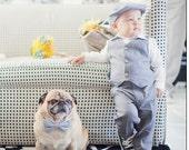 European Linen in Slate Hat Dress Pants and Vest Suit for boys ring bearer