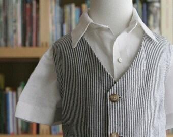 Vest and Pants Seersucker Summer Suit for Ring Bearer