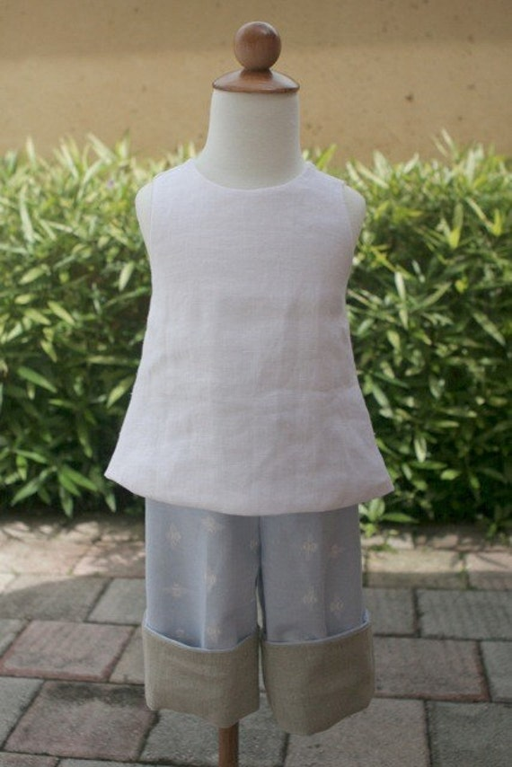Super cute and simple white linen pinafore