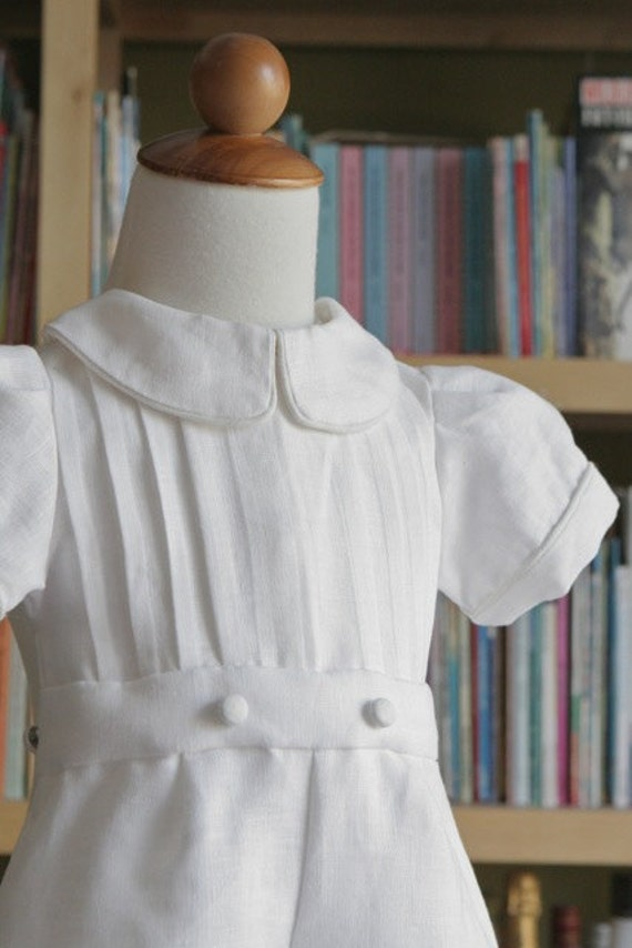 Baptismal White Linen Prince Outfit christening baptism