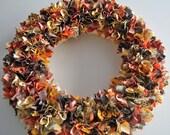 Fall Fabric Wreath-Brown, Green, Orange, Yellow-Halloween and Thanksgiving Decor-12 inch diameter