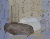 Print Giclee Art 8x11 wall art print victorian woman in blue bedroom bed white brown beige by Ana Gonzalez