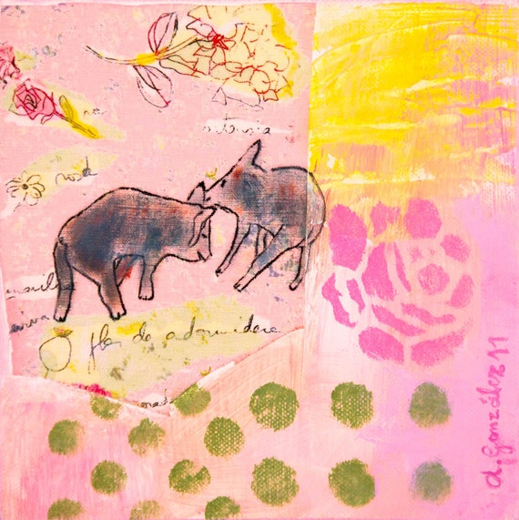 RESERVED for customer Original Painting mixed media art nursery painting 8x8 pink yellow green gray pigs flowers