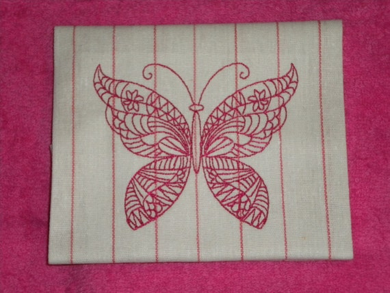 Embroidered hostess towel with butterfly
