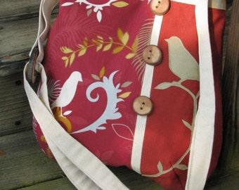 """Vegan, Eco-Friendly shoulder bag, Bird Purse, Bird Shoulder Bag, adjustable 60"""" strap, 3 open inside pockets, 1 Large Zipper pocket"""