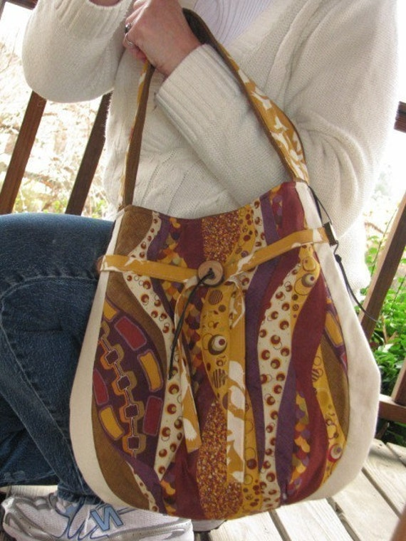 Bubbling Stream Shoulder Bag /Purse/ 6 large pockets / Tote