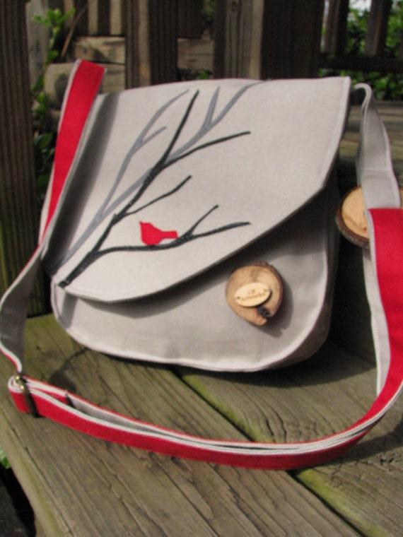 Red Bird Purse with adjustable strap and eight pockets READY TO SHIP