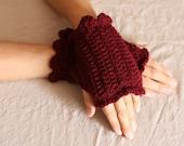 FREE SHIPPING, Burgundy Wristlets, Crochet Fingerless Gloves in Rich Red Wine