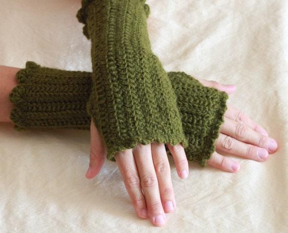 Wool Blend Fingerless Gloves, Crochet Arm-Warmers in Moss Green, Soft and Cozy