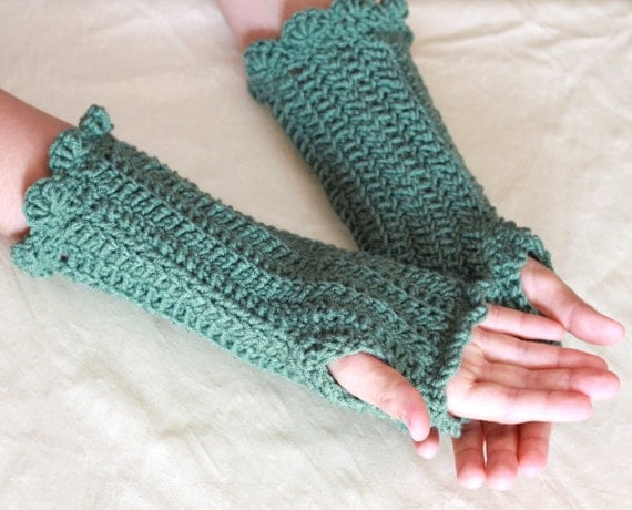 CLEARANCE SALE, 75% OFF, Ready to Ship Crochet Fingerless Gloves,  Arm-Warmers in Sage Green