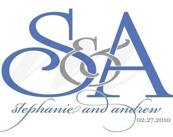Personalized Wedding Monogram - Intertwining Ampersand Design