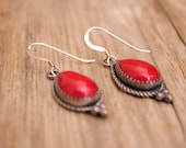 Vintage Sterling & Red Stone Tear Drop Earrings Southwestern Style
