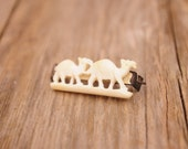Old Carved Bone Pin w Two Camels