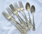 11 Pcs Baroque Flatware Nickel Plated Fancy for Craft or Jewelry Projects