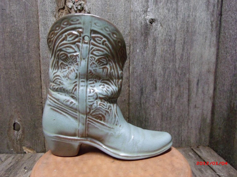 Frankoma Pottery Prairie Green Cowboy Boot Vase By