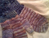 Blueberries and Lupines Handspun Hand-dyed Mittens