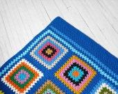 Vintage Afghan Blanket - Crochet, Granny Squares, Retro