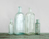 Antique Bottle Collection - Glass, Rustic, Flower Vase, Medicinal