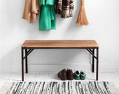 Reclaimed Wood & Metal Bench - Mid Century Modern, Industrial, Retro