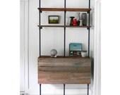 Reclaimed Wood & Pipe Shelving Unit - Mid Century, Modern, Metal, Industrial, Shelf