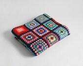 Vintage Woven Afghan Blanket - Crochet, Granny Squares, Retro