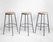 Vintage Industrial Bar Stools - Chairs, Mid Century, Modern, Wood, Slatted