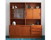 Vintage Danish Teak Wall Unit - Cabinet, Credenza, Mid Century, Modern, Wood, Retro