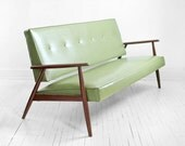 Reserved - Mid Century Green Sofa - Modern, Wood, Couch, Retro, Leather look, Eames