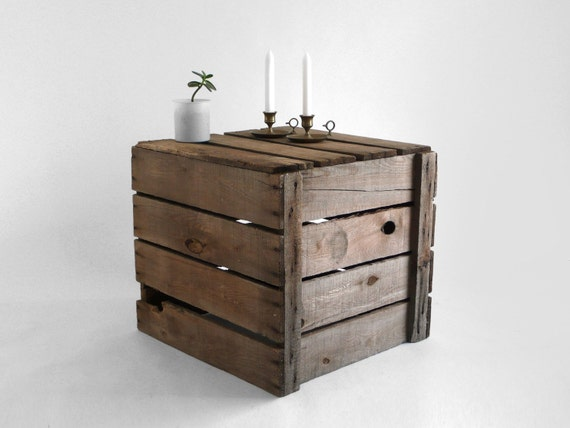 Items similar to rustic wood coffee table crate on etsy for Wooden crate end table