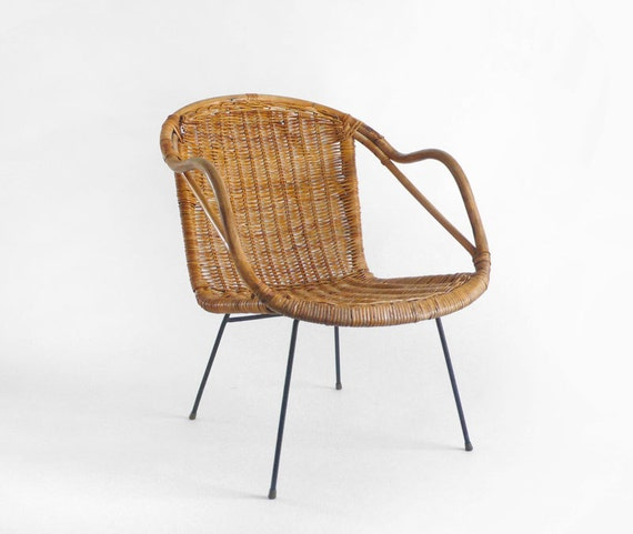 Items similar to vintage mid century chair lounge for Modern wicker dining chairs
