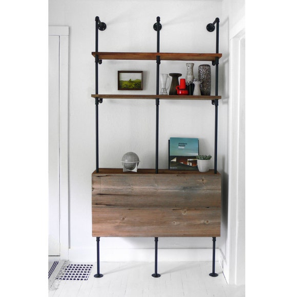 items similar to reclaimed wood pipe shelving unit mid. Black Bedroom Furniture Sets. Home Design Ideas