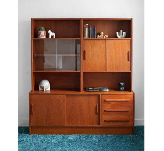 Items Similar To Vintage Danish Teak Wall Unit Cabinet