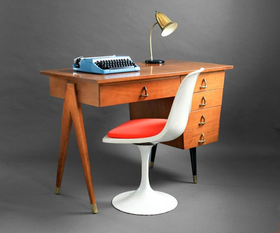 Items Similar To Mid Century Maple Office Desk Wood