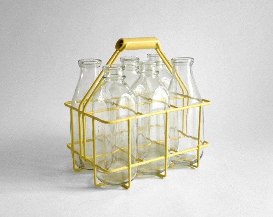 items similar to vintage milk bottles with carrier on etsy. Black Bedroom Furniture Sets. Home Design Ideas