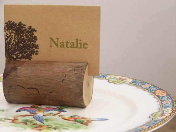Rustic Woodland Log Place Card Holders Set of 6