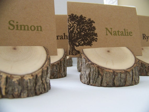 Rustic Set of Wood  Angled Place Card Holders Set of 6    Eclectic Mix