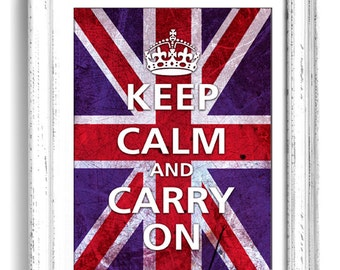 Union Jack Keep calm and Carry on 8x10 art print, words typography, quote art