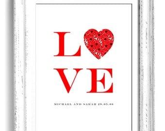 LOVE print - personalised wedding art gift