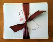 Birds with Bowties set of five note cards