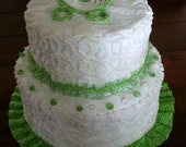 Baby Boy or Girl Diaper Cake Chenille Green and White